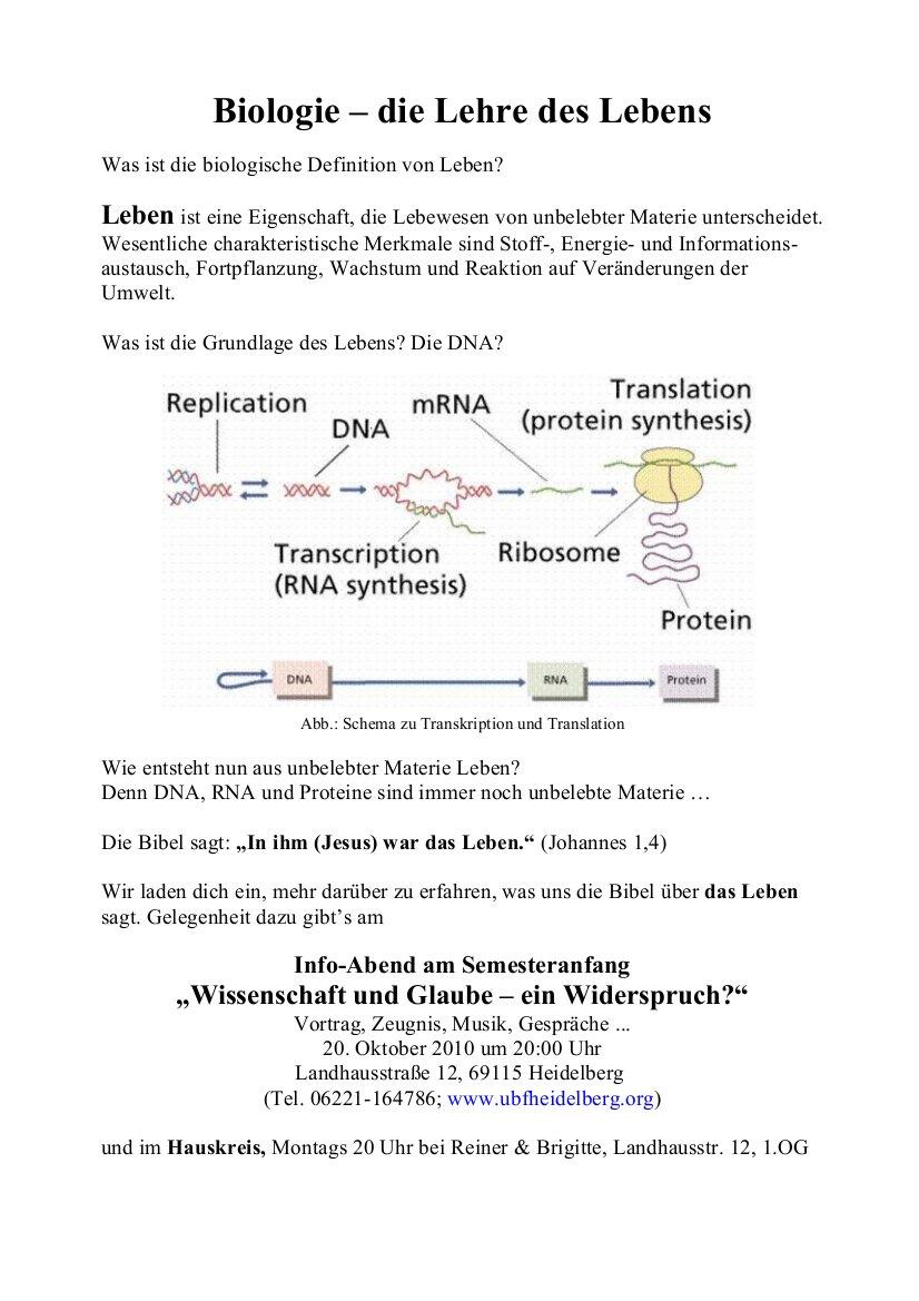 Einladung: Biologie 1