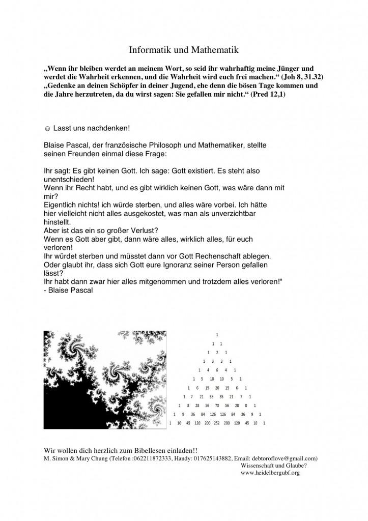 Einladung: Informatik und Mathematik